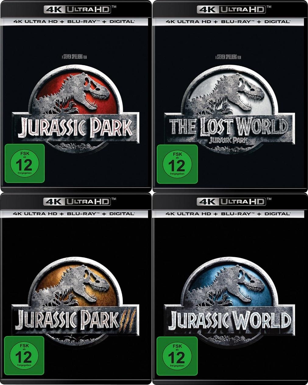 Jurassic Park 1-3 + Jurassic World Set - 4K Ultra HD Blu-ray + Blu-ray (4K Ultra HD)