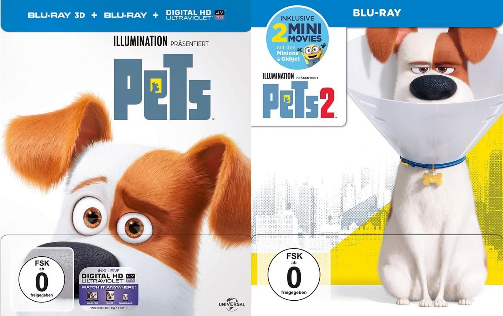 Pets - 3D + 2D + Pets 2 in 2D im Steelbook Set (Blu-ray)